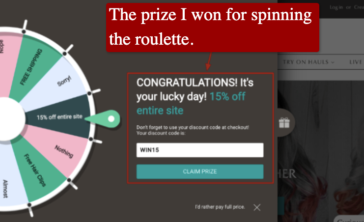 Screenshot of a gamification example on an e-commerce site.