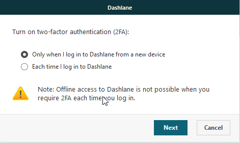 A screenshot showing two options in Dashlane for the frequency of 2FA use.
