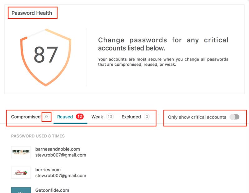 Dashlane's Password Health score incorporates multiple factors.