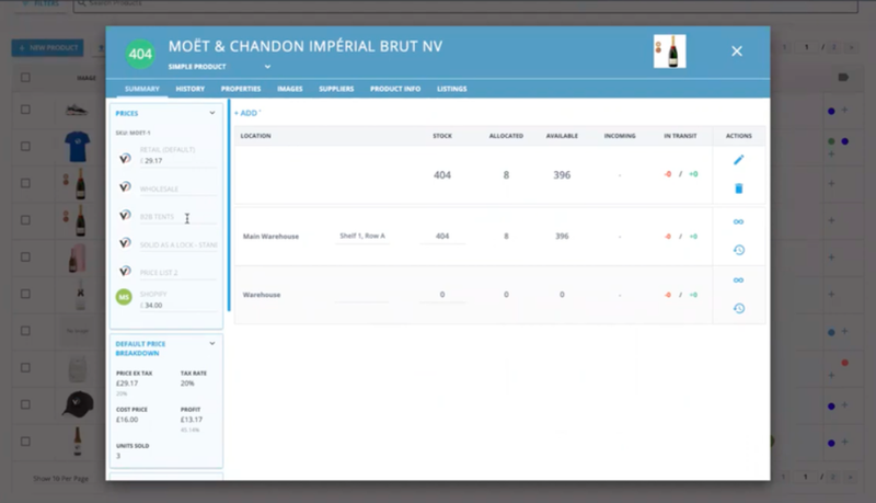 Screenshot of a product profile in Veeqo highlighting the quantity and location of bottles of champagne.