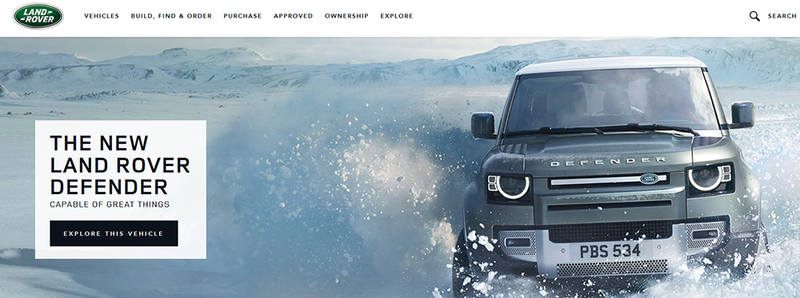 Land Rover landing page showing a picture of a Land Rover in the snow with a call-to-action to learn more.