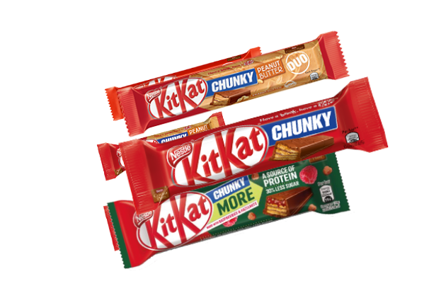 Product image of Kit Kat's Chunky bar in different flavors.