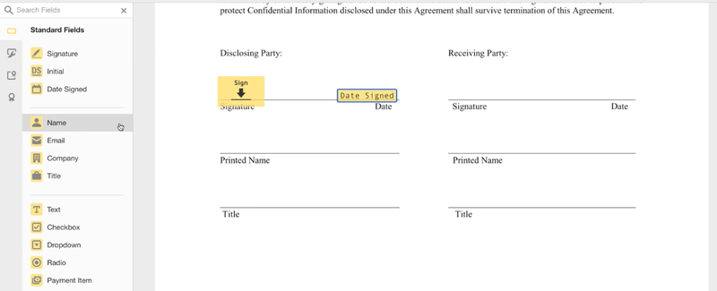 DocuSign's sidebar displays options for marking areas in a document that require signatures and other actions.