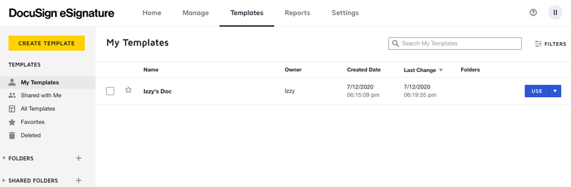 DocuSign's templates page lists documents set up for reuse