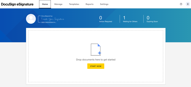 DocuSign's image upload tool shows a window that allows users to drag and drop documents into the area