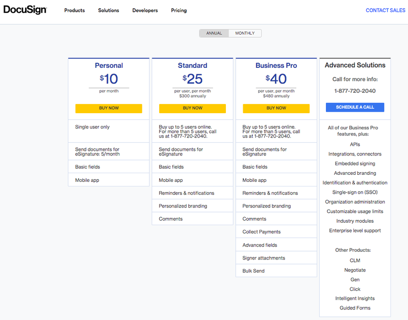 The DocuSign pricing page shows four pricing options