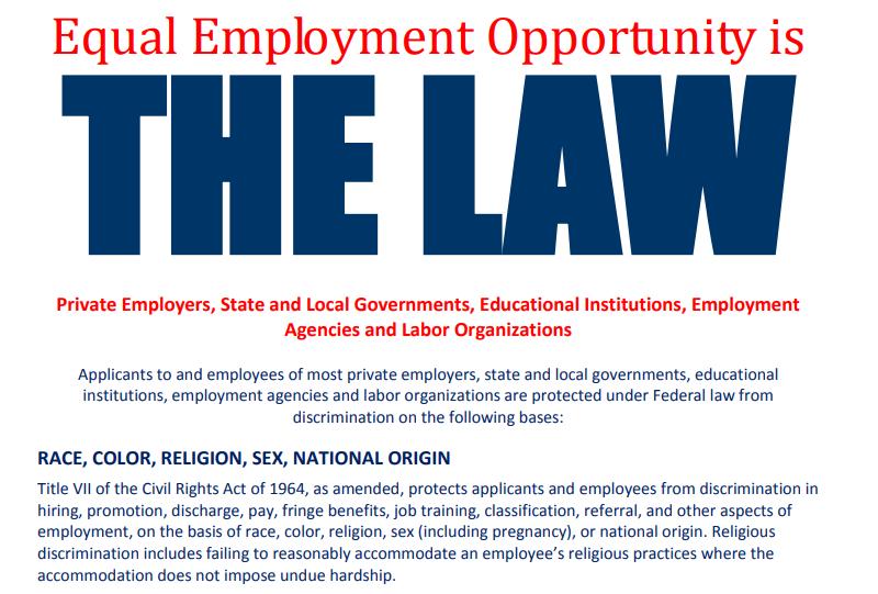 Screenshot of the EEOC's EEO poster.