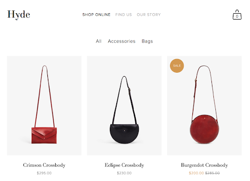 Hyde e-commerce site displaying handbags