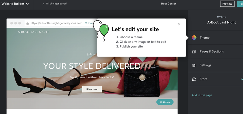 GoDaddy eCommerce's template editor tool