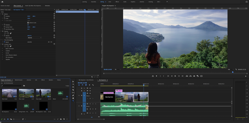 The Editing workspace in Premiere Pro.