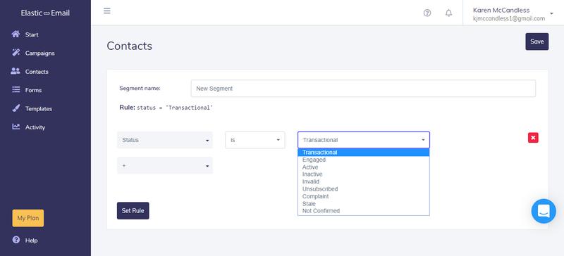 ElasticEmail Contacts Screenshot