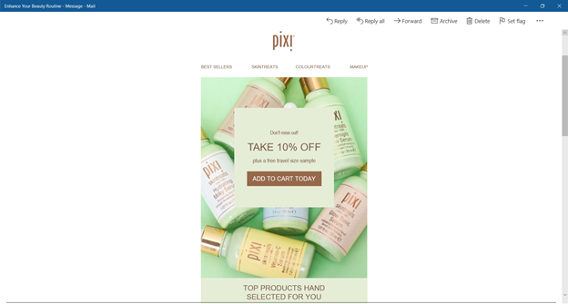 An email from Pixi displays a background image with a text box detailing a 10% discount layered over the top.
