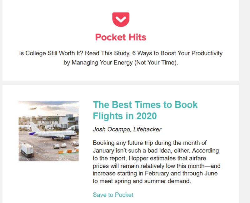 An email marketing example from Pocket showing a branded header and preview of an article.
