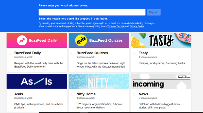 Email marketing example of BuzzFeed email subscription page allowing subscribers to self-select their email types.