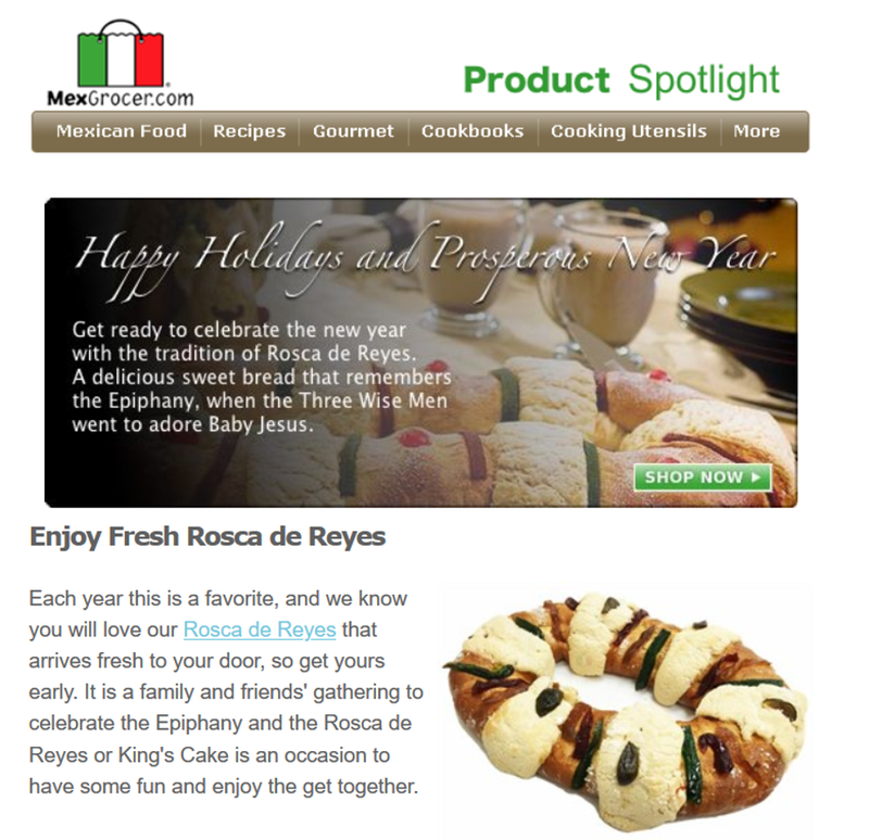 Email marketing example from MexGrocer advertising sweet bread for Epiphany.