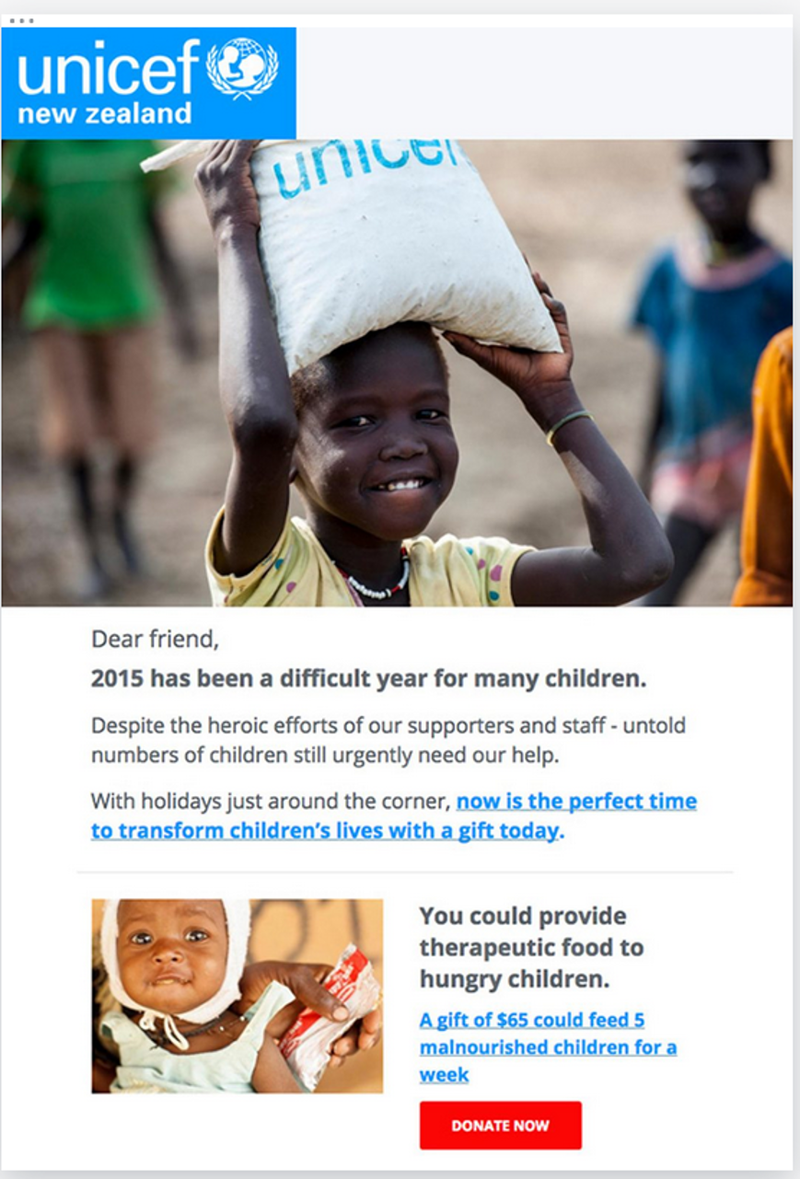 Email marketing example from UNICEF showing image of child with bag and copy requesting a financial donation.
