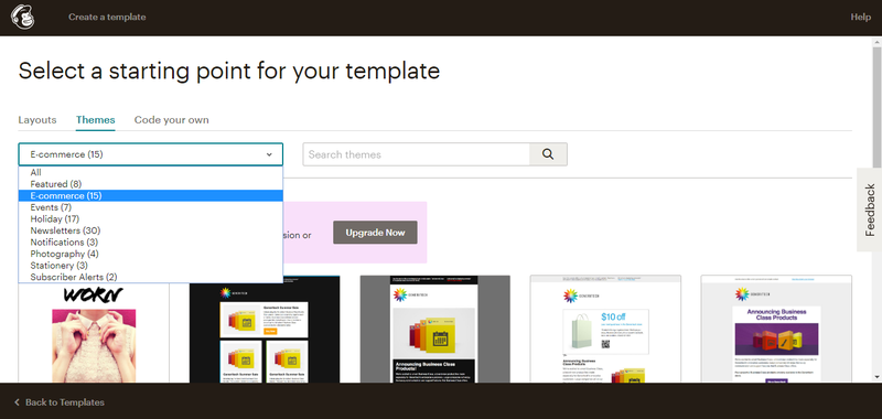 Screenshot of Mailchimp email templates for email marketing campaigns.