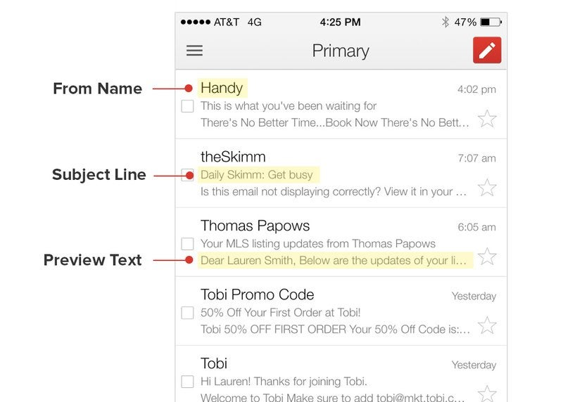 A screenshot of Litmus preview text tool for email marketing campaings.