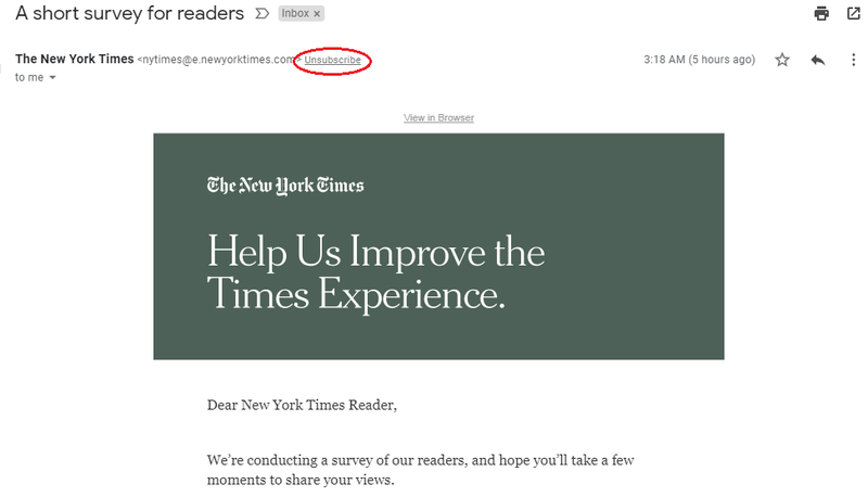 Screenshot of The NYT's unsubscribe link for subscribers.
