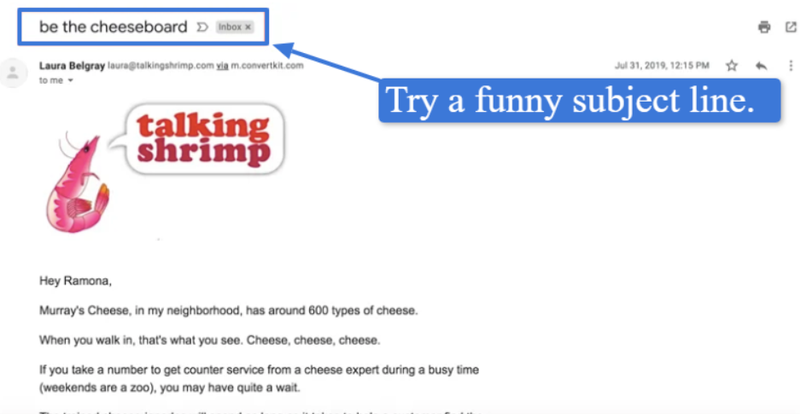 Joke in email subject line