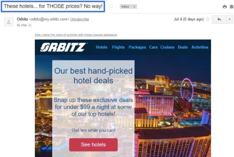 Example of Orbitz intriguing subject line