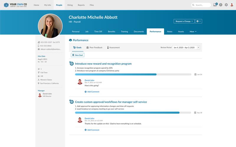 A screenshot of BambooHR's employee performance dashboard.