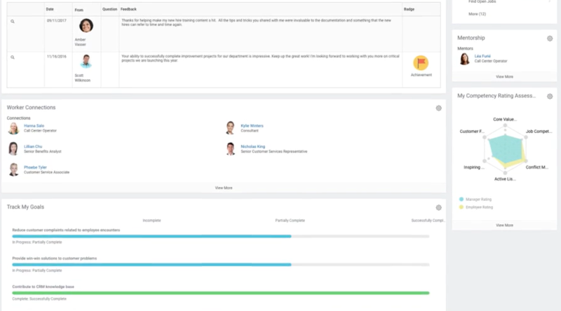 The Workday's talent and performance management dashboard with feedback.