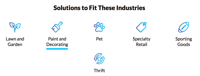 Image showing some of the industries Epicor Retail Cloud supports, including pet stores, thrift stores, and lawn and garden-based businesses.