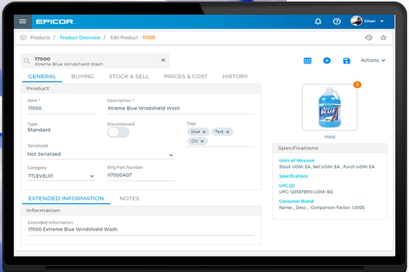 Epicor Retail Cloud's inventory management feature shows detailed product overviews.
