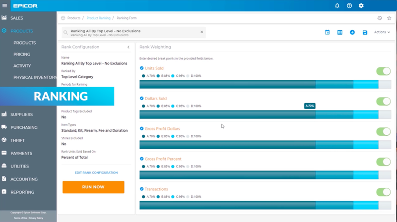 Example of Epicor Retail Cloud's product-ranking feature, including a visual bar chart of rank weighting.