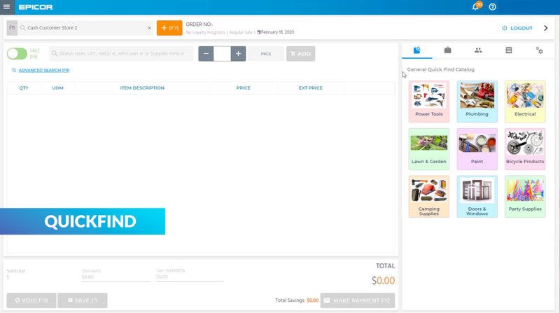 Example of Epicor Retail Cloud's Quickfind feature, with products categorized by catalog.