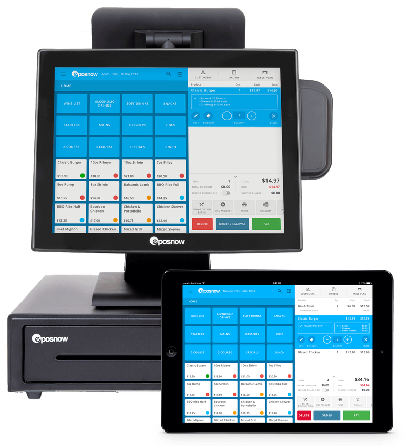 Screenshot of EPOS Now terminal and tablet