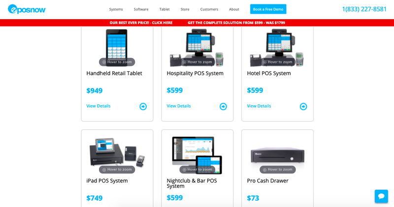 Screenshot of Epos Now available hardware