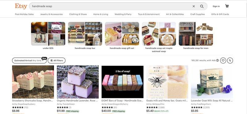 Handmade soap for sale on Etsy.