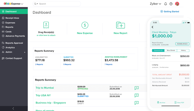 Expense management dashboard in Zoho Expense.