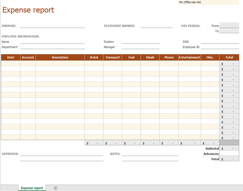 Microsoft Excel expense report sample template