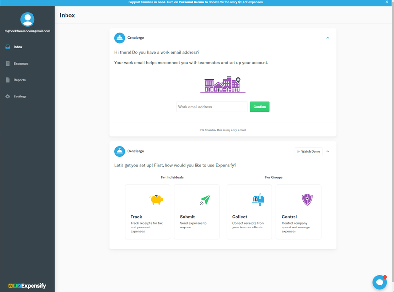 Expensify's main screen with access to current messages and features.