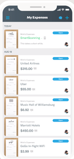 The Expensify mobile app showing a list of expenses.