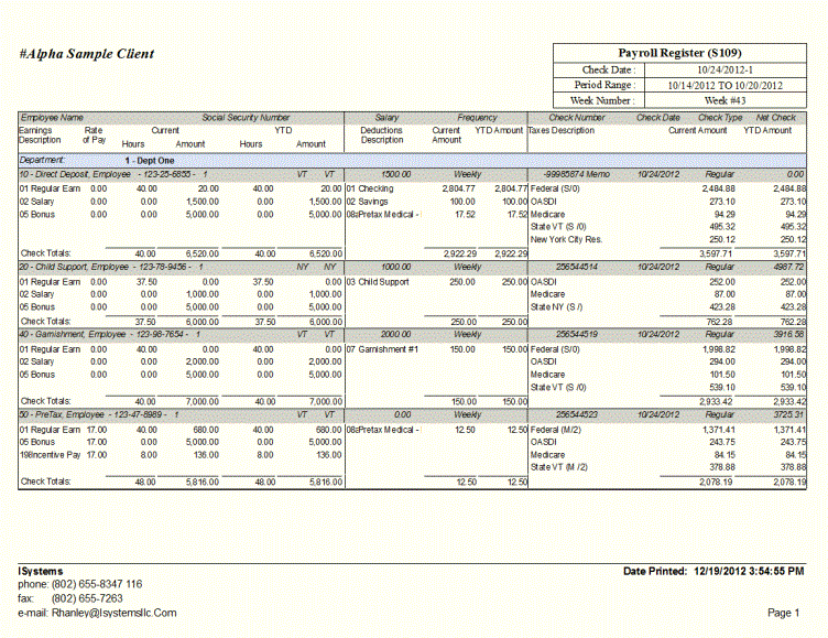 ADP sample report showing employee name, social security, salary and frequency