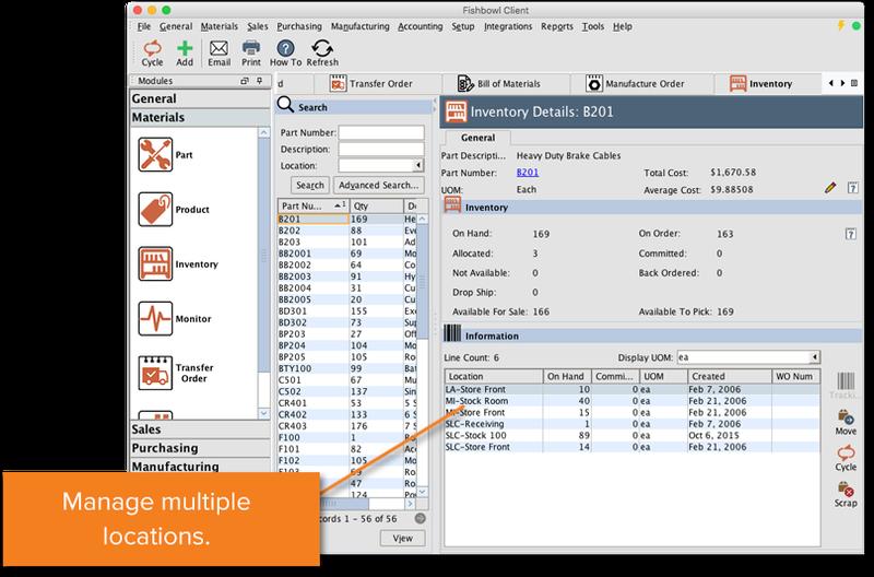 Fishbowl screenshot of warehousing features.