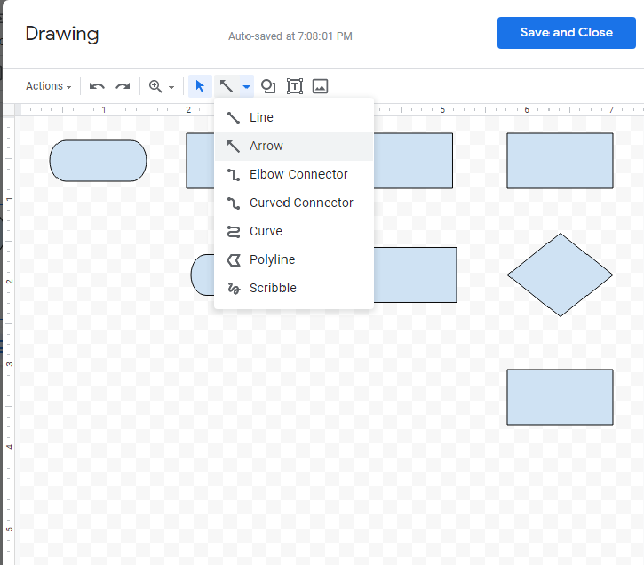 """Drawing canvas showing different shapes and the """"Arrow"""" option selected from the Line menu on the toolbar."""