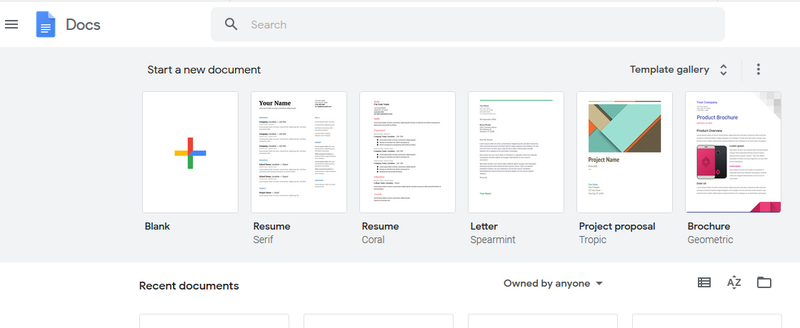 """Screenshot of the """"Start a new document"""" page in Google Docs, in which users can choose to open either a blank page or use a pre-built template."""