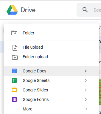 A screenshot showing the different document and file types a user can create: Google Docs, Google Sheets, Google Slides, and Google Forms.