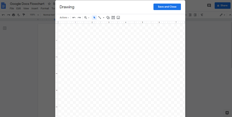 "A screenshot of a blank drawing canvas over a Google document entitled ""Google Docs Flowchart."""
