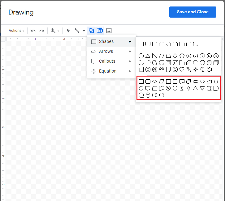 Screenshot of the Google Docs drawing canvas with the bottom half of the Shapes menu boxed in red.