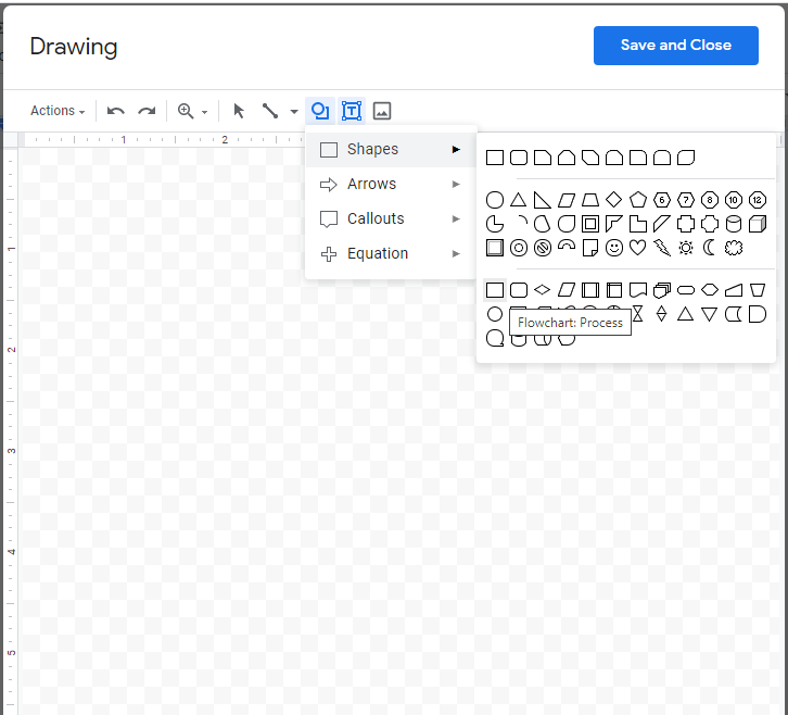 """Screenshot of the Google Docs drawing tool showing the rectangle shape selected and the words """"Flowchart: Process"""" below it."""