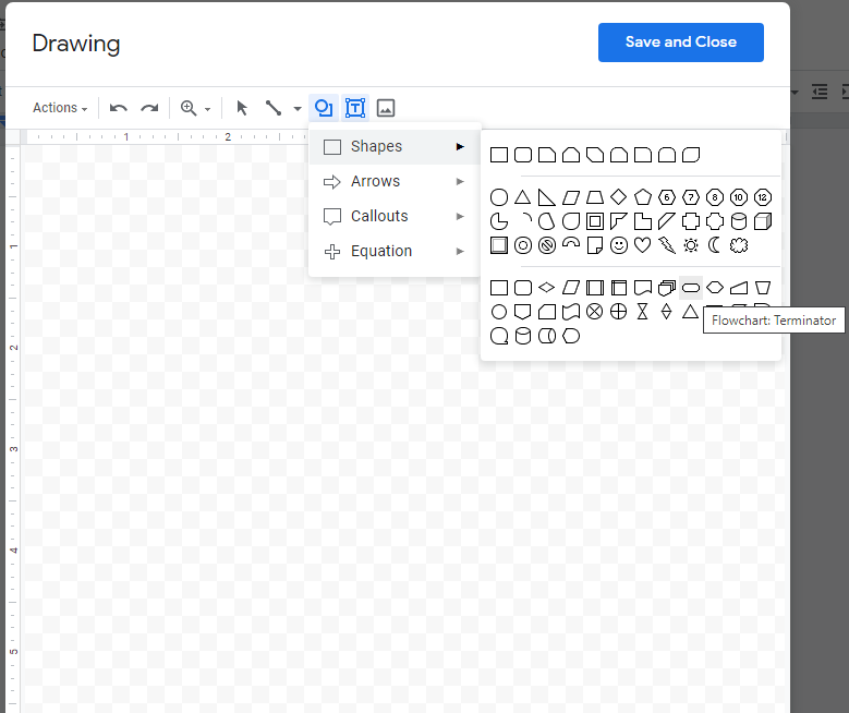 A screenshot of the different flowcharting shapes, with the terminator symbol highlighted.