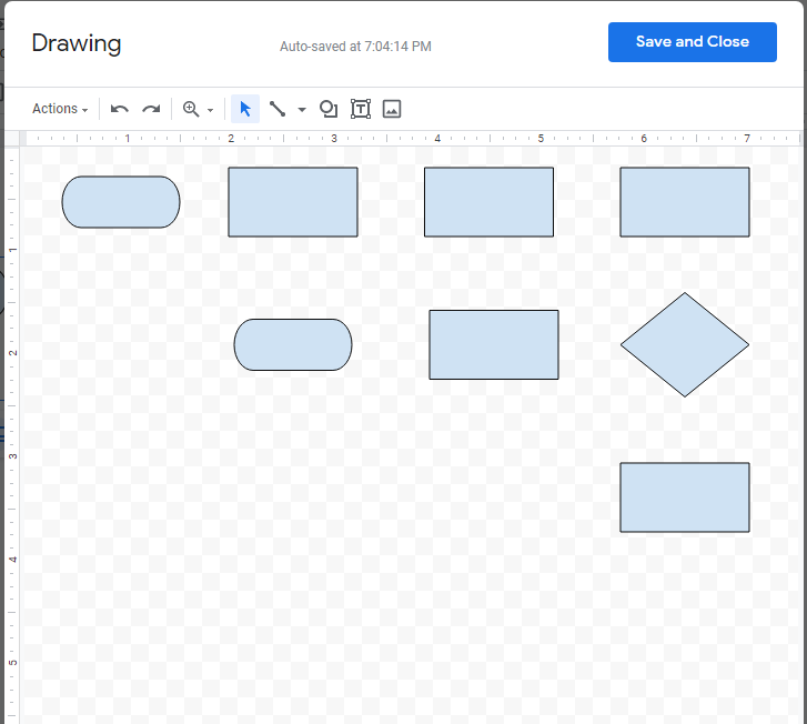 Drawing canvas with eight shapes symbolizing the different parts of the flowchart.