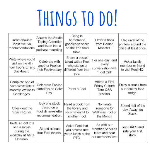 Foolish Onboarding - Things to Do Table