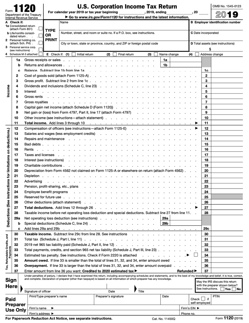 Page 1 of Form 1120